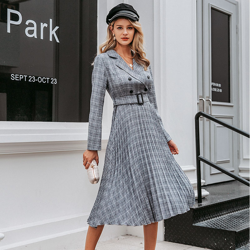 Vintage Plaid Work Dress for Women